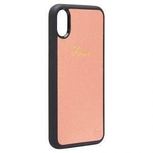 iPhone X/XS Saffiano Leather Case - Peach