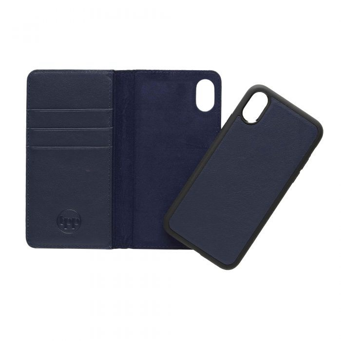 iPhone X/XS Leather Wallet Case- Blue