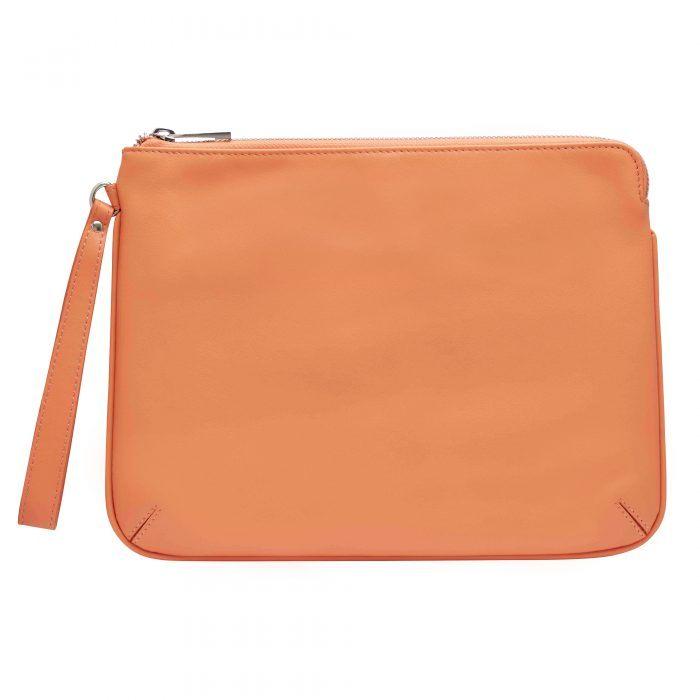 Personalised Leather Pouch Medium - Orange