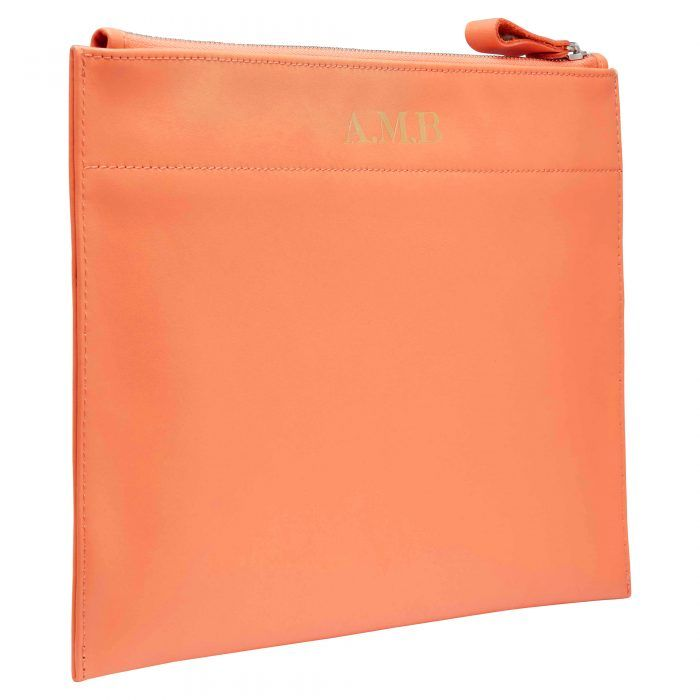 Personalised Leather Pouch Large - Orange