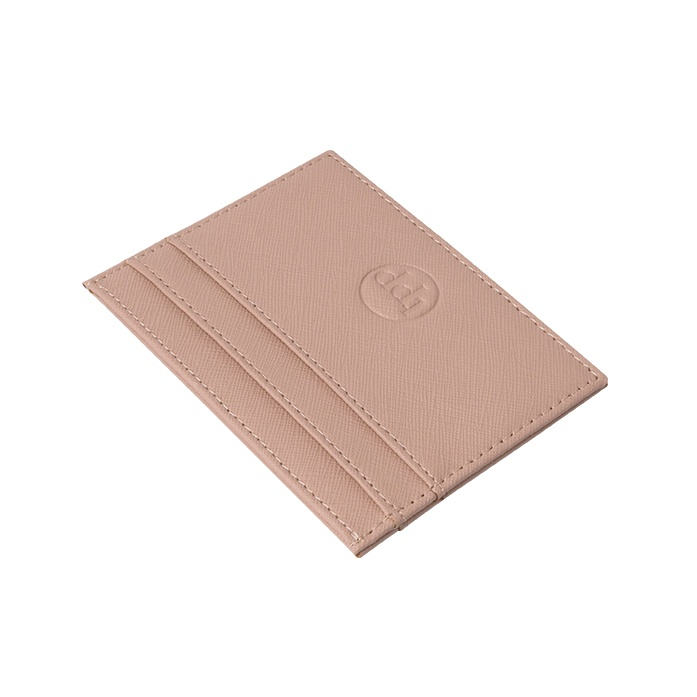 Slim Card Holder- Saffiano Taupe