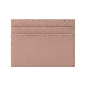 Slim Card Holder- Saffiano Taupe
