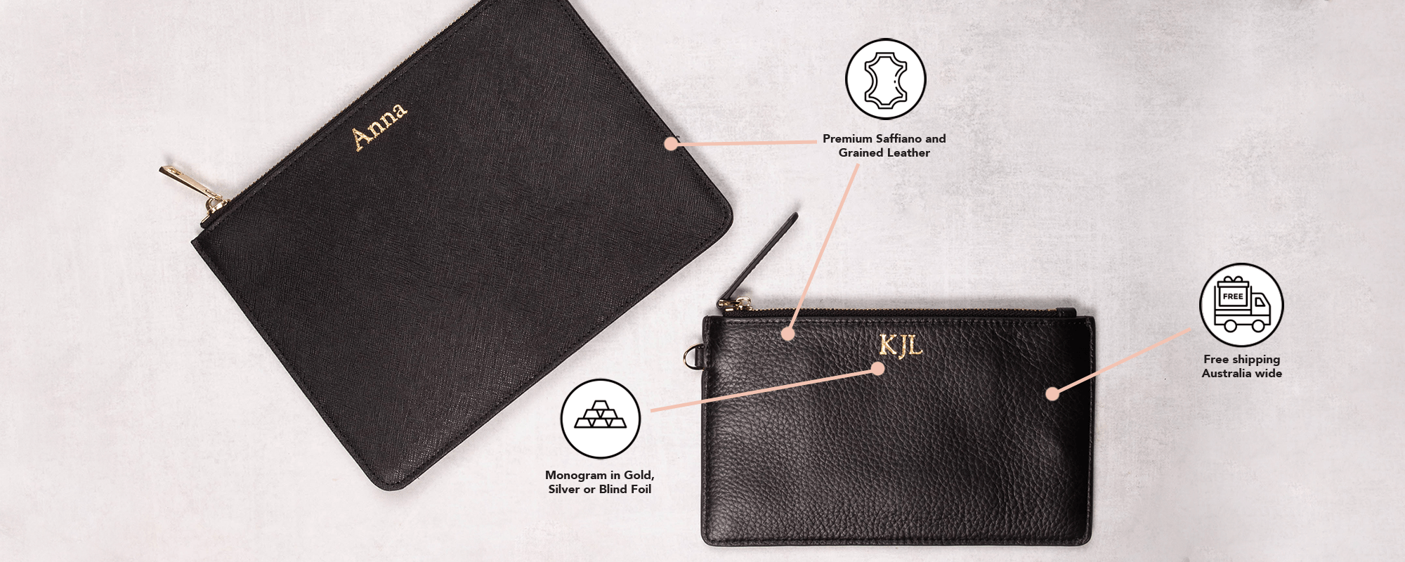 Personalised Leather Pouch Large – Nuud