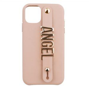 iPhone 11 Letter Strap Case- Nude
