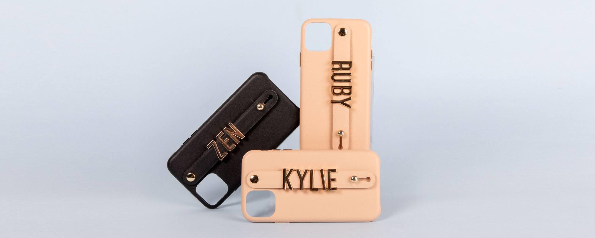 iPhone 11 Letter Strap Case- Black