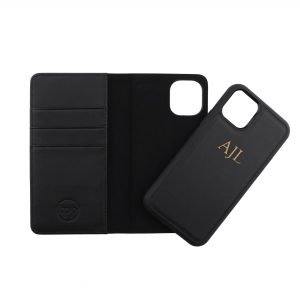 iPhone 11 Leather Wallet Case- Black