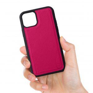iPhone 11 Saffiano Leather Case - Black