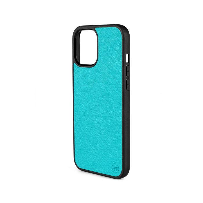 iPhone 12 Saffiano Leather Case - Aqua