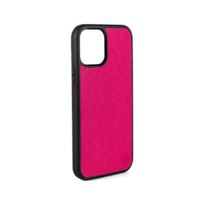 iPhone 12 Saffiano Leather Case - Pink