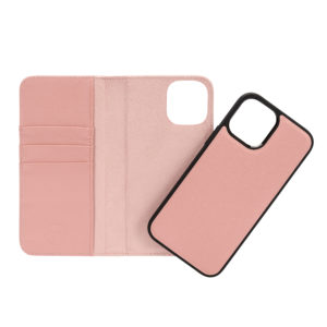 iPhone 12 mini Leather Wallet Case- Blush Nude