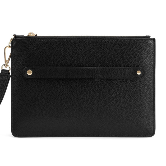 Classic Pouch with Letter Strap- Black