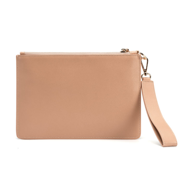 Classic Pouch with Letter Strap- Nude