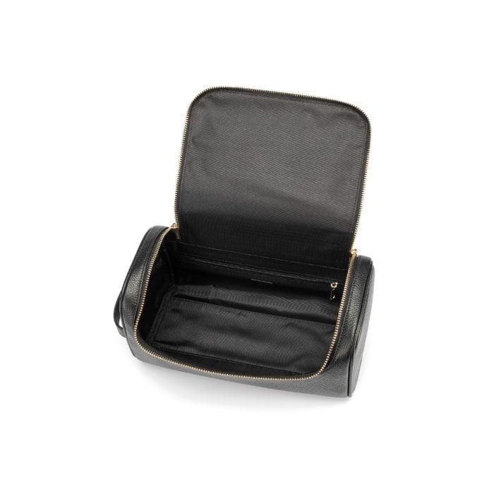 Top Zip Wash Bag- Black (Gold Hardware)