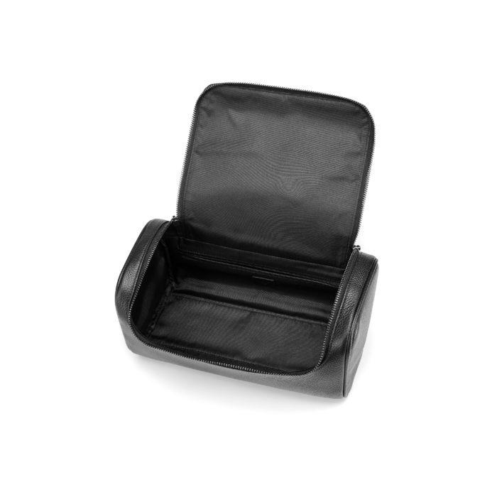 Top Zip Wash Bag- Black (Gun Metal Hardware)