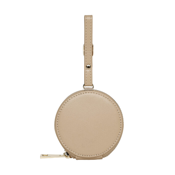 Leather Earphones Pouch Large - Nude