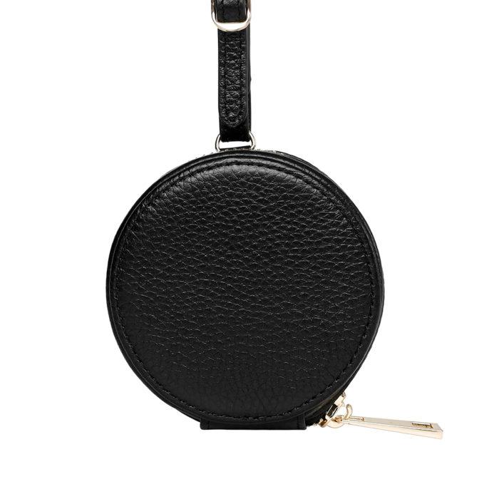 Leather Earphones Pouch Large - Black