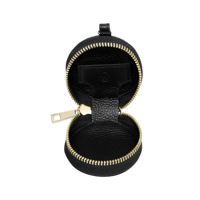 Leather Earphones Pouch Small - Black