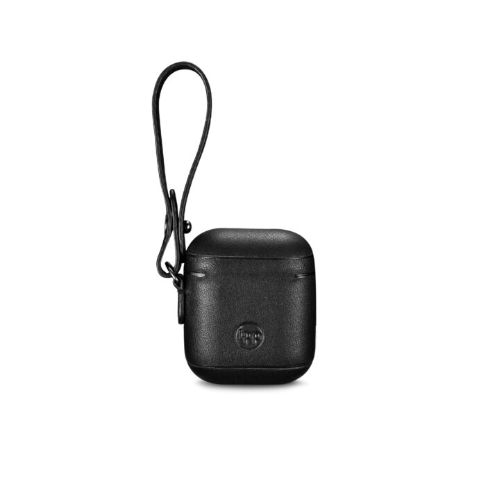 AirPods Leather Case with Strap- Black