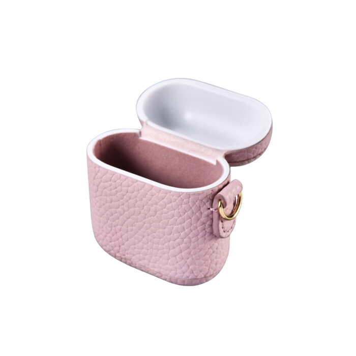 AirPods Leather Case with Strap- Grain Pink