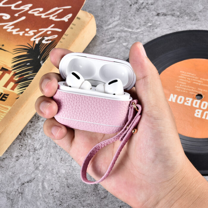 AirPods Pro Leather Case with Strap- Grain Pink