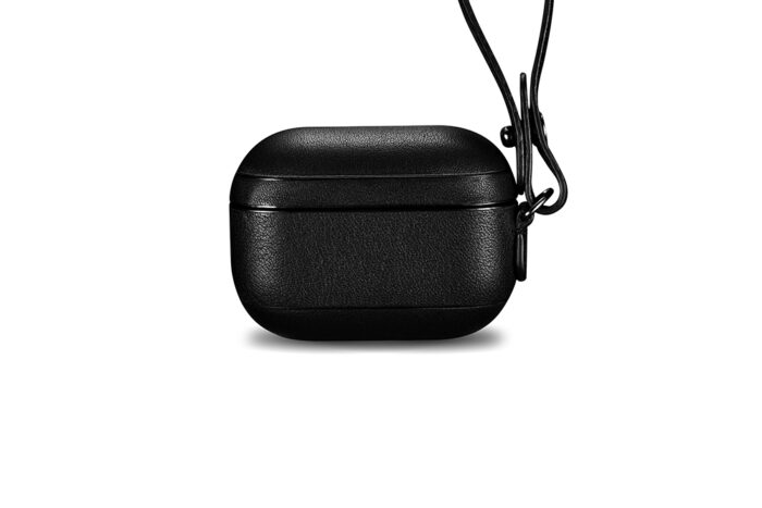 AirPods Pro Leather Case with Strap- Black