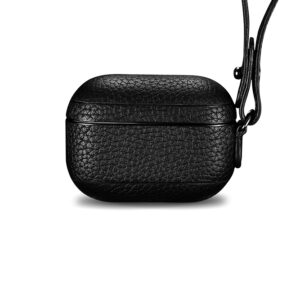 AirPods Pro Leather Case with Strap- Grain Black