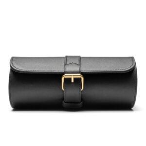 3 Watch Case- Black (Gold Hardware)