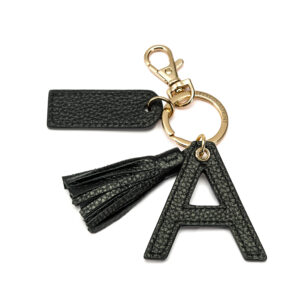 Letter A Keychain- Black