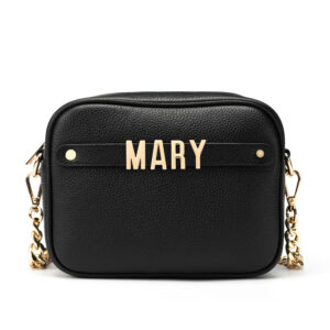 Cross Body Bag with Letter Strap- Black