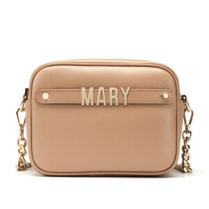 Cross Body Bag with Letter Strap- Nude