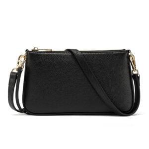 Leather Shoulder Bag- Black
