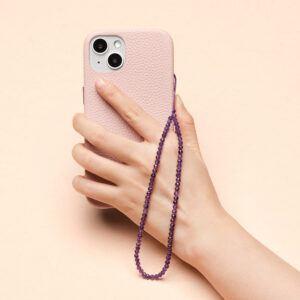Crystal Beaded Phone Charm- Amethyst