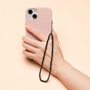 Crystal Beaded Phone Charm- Black Obsidian