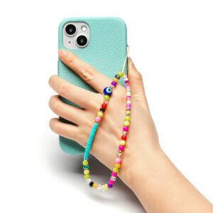 Beaded Phone Charm- Ciel Bleu
