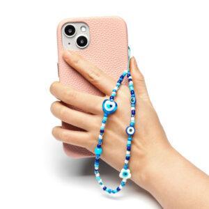 Beaded Phone Charm- Yeux Bleus