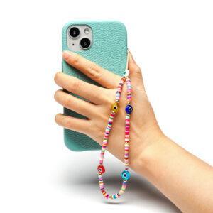 Beaded Phone Charm- Yeux Arc En Ciel