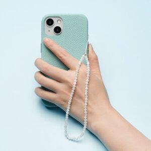 Crystal Beaded Phone Charm- Moonstone