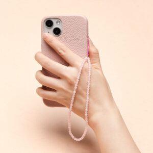 Crystal Beaded Phone Charm- Rose Quartz