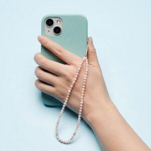 Crystal Beaded Phone Charm- Pink Opal